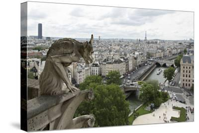 Europe, France, Paris. a Gargoyle on the Notre Dame Cathedral-Charles Sleicher-Stretched Canvas Print