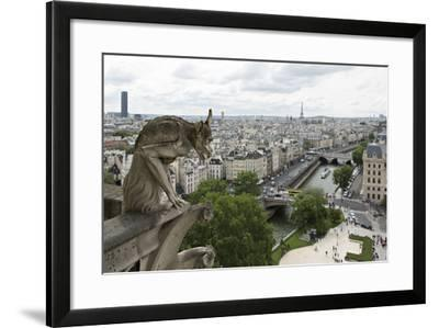 Europe, France, Paris. a Gargoyle on the Notre Dame Cathedral-Charles Sleicher-Framed Photographic Print