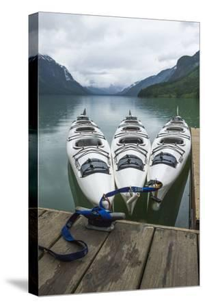 Chilkoot Lake, Kayaks at the Dock Haines, Alaska-Michael Qualls-Stretched Canvas Print