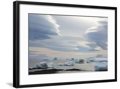 Antarctica. Brown Bluff. Lenticular Clouds Show Katabatic Winds-Inger Hogstrom-Framed Photographic Print
