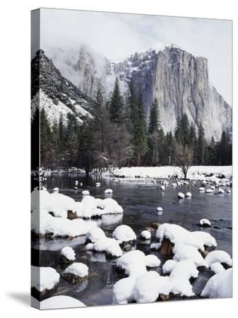 California, Sierra Nevada, Yosemite National Park, Snow on El Capitan-Christopher Talbot Frank-Stretched Canvas Print