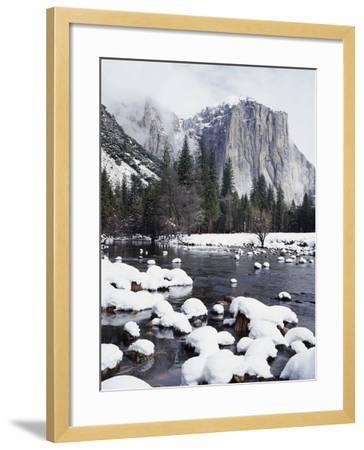 California, Sierra Nevada, Yosemite National Park, Snow on El Capitan-Christopher Talbot Frank-Framed Photographic Print