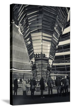 Germany, Berlin, Reichstag, Dome Interior, Evening-Walter Bibikow-Stretched Canvas Print