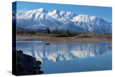 Cinquefoil Mountain Reflects in the Athabasca River, Jasper National Park, Canada-Richard Wright-Stretched Canvas Print