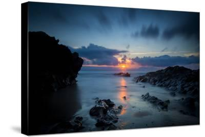 Sunset over the Rocks,Cornish Coast Near Newquay, Cornwall, England-Brian Jannsen-Stretched Canvas Print