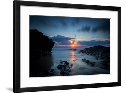 Sunset over the Rocks,Cornish Coast Near Newquay, Cornwall, England-Brian Jannsen-Framed Photographic Print
