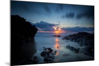 Sunset over the Rocks,Cornish Coast Near Newquay, Cornwall, England-Brian Jannsen-Mounted Photographic Print