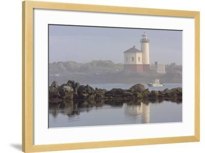 Coquille River Lighthouse in Morning Fog in Bandon, Oregon, USA-Chuck Haney-Framed Photographic Print