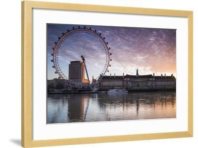 England, London, London Eye, Sunrise-Walter Bibikow-Framed Photographic Print