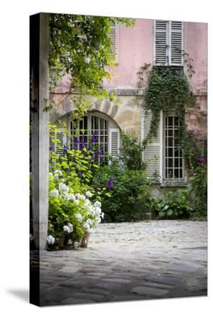 Flowery Building Courtyard in Saint Germaine Des Pres, Paris, France-Brian Jannsen-Stretched Canvas Print