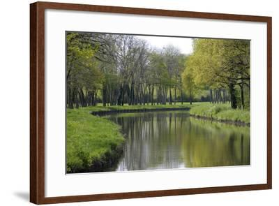 France, Loire. Canal Winding Through Spring Trees and Foliage-Kevin Oke-Framed Photographic Print