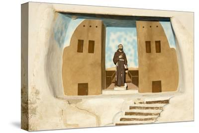 New Mexico. Painting in the Mission San Jose De La Laguna-Luc Novovitch-Stretched Canvas Print
