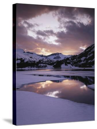 California, Sierra Nevada, Inyo Nf, Frozen Ellery Lake at Sunset-Christopher Talbot Frank-Stretched Canvas Print