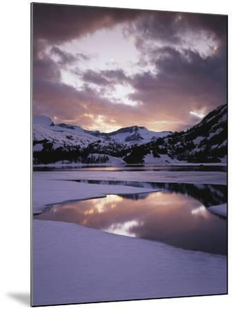 California, Sierra Nevada, Inyo Nf, Frozen Ellery Lake at Sunset-Christopher Talbot Frank-Mounted Photographic Print