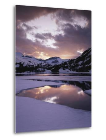 California, Sierra Nevada, Inyo Nf, Frozen Ellery Lake at Sunset-Christopher Talbot Frank-Metal Print