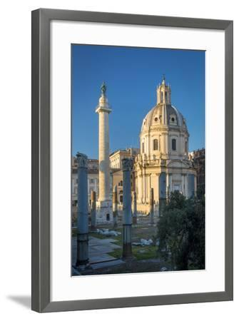Trajans Column and Ruins of Trajans Forum, Rome Lazio Italy-Brian Jannsen-Framed Photographic Print