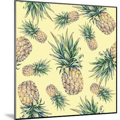 Pineapple on a Yellow Background. Seamless Pattern-MargaritaSh-Mounted Art Print