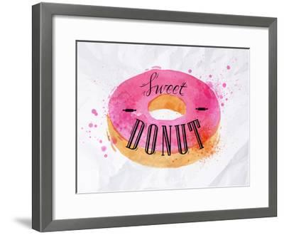 Donut Watercolor Poster-anna42f-Framed Art Print
