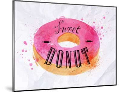 Donut Watercolor Poster-anna42f-Mounted Art Print