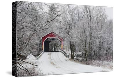 Red Covered Bridge in the Winter; Adamsville Quebec Canada-Design Pics Inc-Stretched Canvas Print