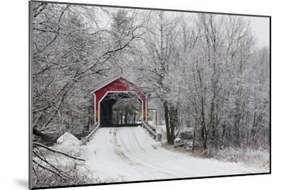 Red Covered Bridge in the Winter; Adamsville Quebec Canada-Design Pics Inc-Mounted Photographic Print