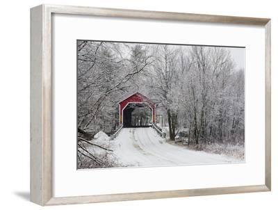 Red Covered Bridge in the Winter; Adamsville Quebec Canada-Design Pics Inc-Framed Photographic Print