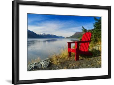 Red Adirondack Chair, Turnagain Arm, Southcentral Alaska-Design Pics Inc-Framed Photographic Print