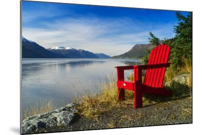 Red Adirondack Chair, Turnagain Arm, Southcentral Alaska-Design Pics Inc-Mounted Photographic Print