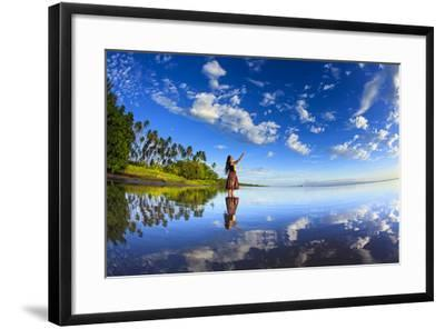 A Hula Dancer in Low Tide Water in Front of Kapuaiwa Palm Grove, Molokai Island-Richard Cooke-Framed Photographic Print