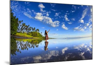 A Hula Dancer in Low Tide Water in Front of Kapuaiwa Palm Grove, Molokai Island-Richard Cooke-Mounted Photographic Print