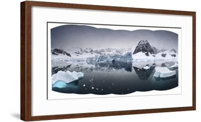 Icy Seascape Including Distant Mountains-Jim Richardson-Framed Photographic Print