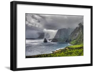 Aerial of Kalawao, the Original Settlement for Leprosy Patients at Kalaupapa, Molokai Island-Richard A. Cooke Iii.-Framed Photographic Print
