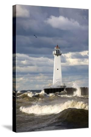 Sodus Outer Lighthouse on Stormy Lake Ontario; Sodus Point, New York, USA-Design Pics Inc-Stretched Canvas Print