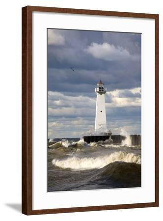 Sodus Outer Lighthouse on Stormy Lake Ontario; Sodus Point, New York, USA-Design Pics Inc-Framed Photographic Print