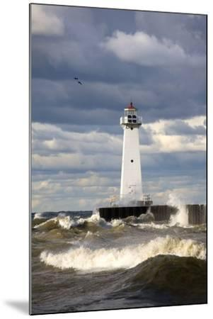 Sodus Outer Lighthouse on Stormy Lake Ontario; Sodus Point, New York, USA-Design Pics Inc-Mounted Photographic Print