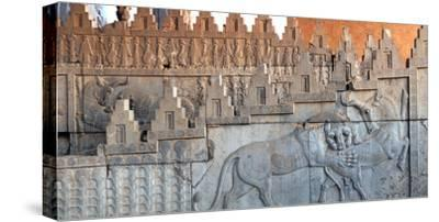 Eastern Stairs of Apadana Palace with Zoroastrian Symbol of Lion and Bull Fighting, the New Year-Babak Tafreshi-Stretched Canvas Print