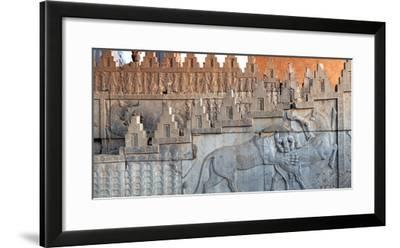 Eastern Stairs of Apadana Palace with Zoroastrian Symbol of Lion and Bull Fighting, the New Year-Babak Tafreshi-Framed Photographic Print