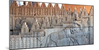 Eastern Stairs of Apadana Palace with Zoroastrian Symbol of Lion and Bull Fighting, the New Year-Babak Tafreshi-Mounted Photographic Print