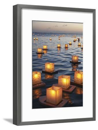 Annual Lantern Floating Ceremony During Sunset at Ala Moana; Oahu, Hawaii, United States of America-Design Pics Inc-Framed Photographic Print