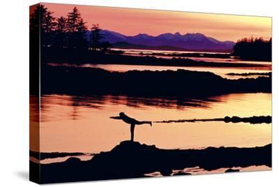 Woman Doing Yoga on a Rocky Beach, Duke Island, Southeast, Alaska-Design Pics Inc-Stretched Canvas Print