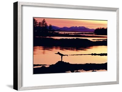 Woman Doing Yoga on a Rocky Beach, Duke Island, Southeast, Alaska-Design Pics Inc-Framed Photographic Print
