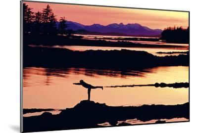 Woman Doing Yoga on a Rocky Beach, Duke Island, Southeast, Alaska-Design Pics Inc-Mounted Photographic Print