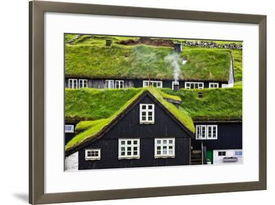 Grass Covered Rooftops on Traditional Faroese Houses-Karine Aigner-Framed Photographic Print