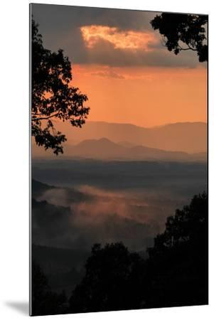 Sunset Colors a View of a Distant Mountain Range after a Rainstorm-Amy White and Al Petteway-Mounted Photographic Print