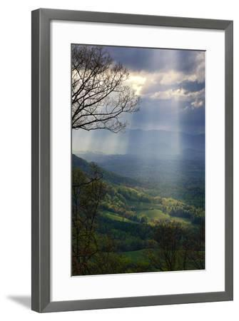 Shafts of Afternoon Sunlight Light Up a Farm in the Valley-Amy White and Al Petteway-Framed Photographic Print