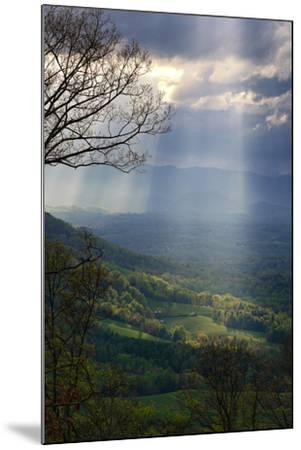 Shafts of Afternoon Sunlight Light Up a Farm in the Valley-Amy White and Al Petteway-Mounted Photographic Print