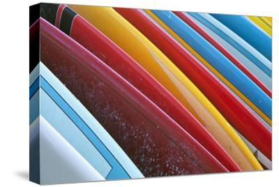 Close Up of Coloured Surfboards Lined Up; Honolulu, Oahu, Hawaii, United States of America-Design Pics Inc-Stretched Canvas Print