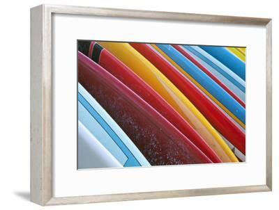 Close Up of Coloured Surfboards Lined Up; Honolulu, Oahu, Hawaii, United States of America-Design Pics Inc-Framed Photographic Print
