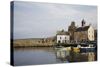 Village Houses and Boats in Harbor-Design Pics Inc-Stretched Canvas Print