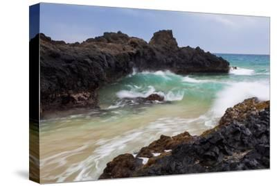 Hawaii, Maui, Makena, Ocean Wave on Rocky Coastline-Design Pics Inc-Stretched Canvas Print